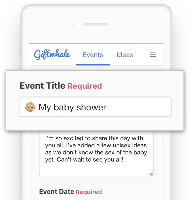 Creating a baby shower wish list on giftwhale on the iPhone or mobile